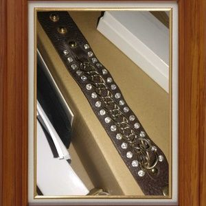 Jewelry - Genuine Leather and Gold Tone Chain